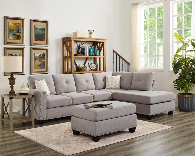 LILOLA Somerset Linen Reversible Sectional Sofa with Ottoman