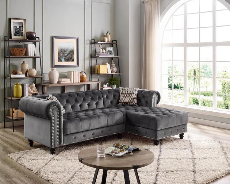 Lilola Home LILOLA Valeria Velvet Sectional Sofa [Item # D6157]