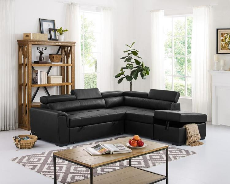 LILOLA Finley Leatherette Sleeper Sectional Sofa [Item # D6170]