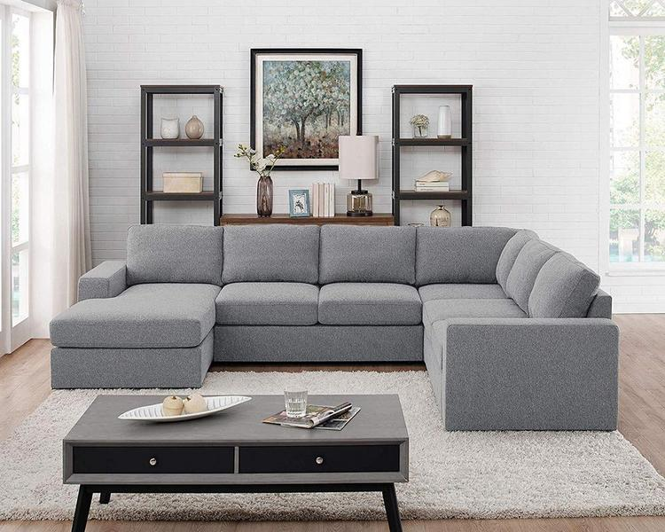 Lilola Home Warren Light Gray Linen 6 Seat Reversible Modular Sectional Sofa Chaise [Item # D6202-4]