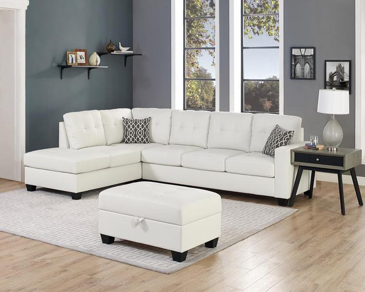 LILOLA Rebecca Leatherette Reversible Sectional Sofa with Ottoman [Item # D6210]