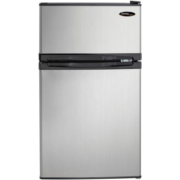 Danby Designer Energy Star 3.1-Cu. Ft. Compact Dual-Door Refrigerator/Freezer with Spotless Steel Door