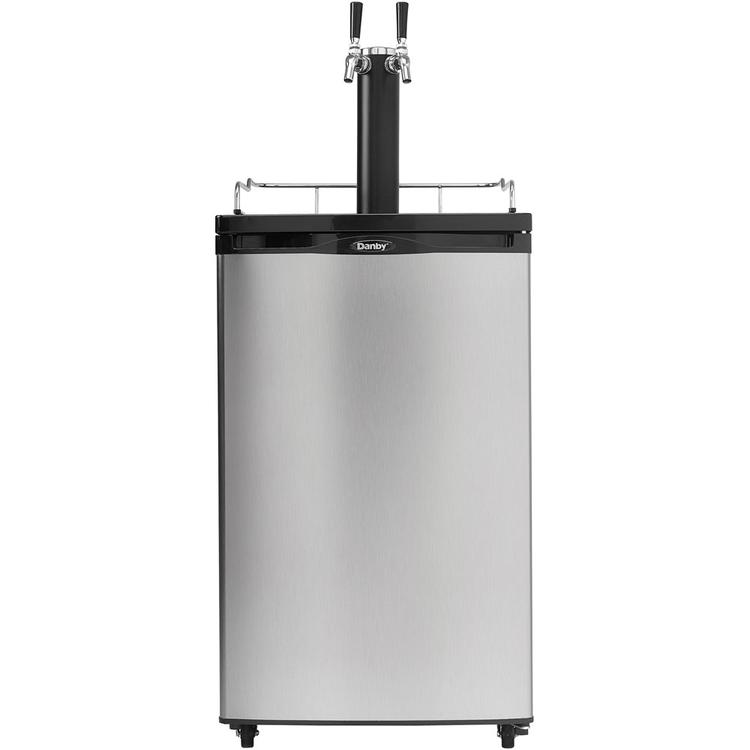 5.2 Cu. Ft. Dual-Tap Keg Cooler in Black with Spotless Steel Door