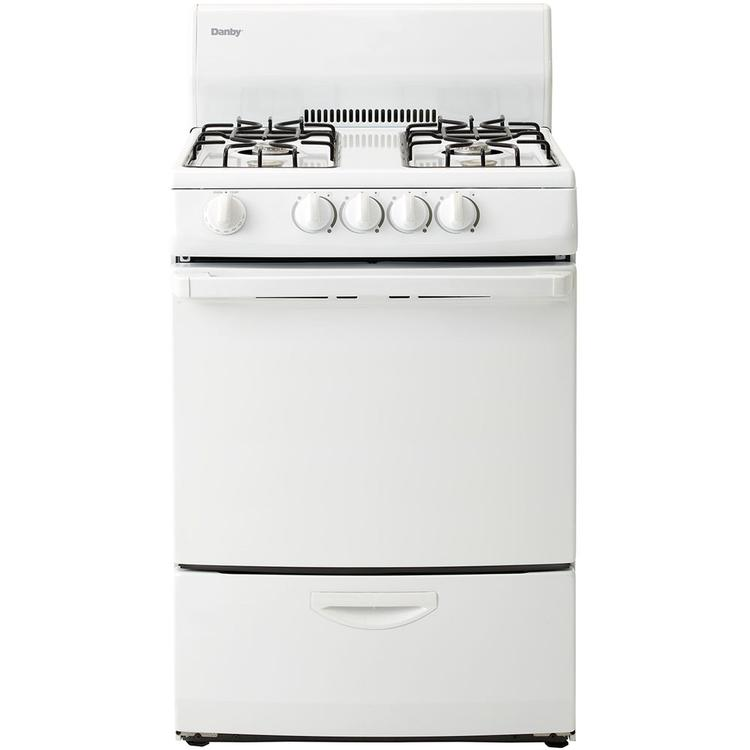 24 In. Wide 2.4 Cu. Ft. Capacity Gas Range with Solid Door, White