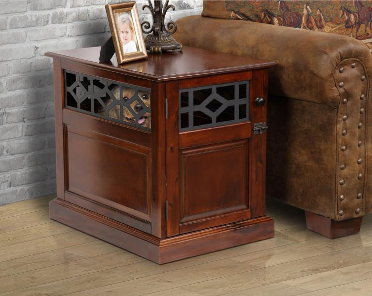 American Furniture Classics OS Home Model DB-111 Small Sized Real Wood Dog Crate with Raised Panel Door and Elegant Metal Accents in Rich Mahogany Finish