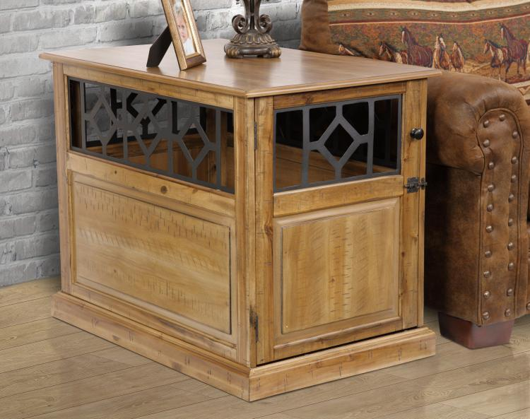 American Furniture Classics OS Home Model DB-114 Medium Sized, Real Acacia Hardwood Dog Crate finished with Scattered Band Saw Milling accents and raised panel door