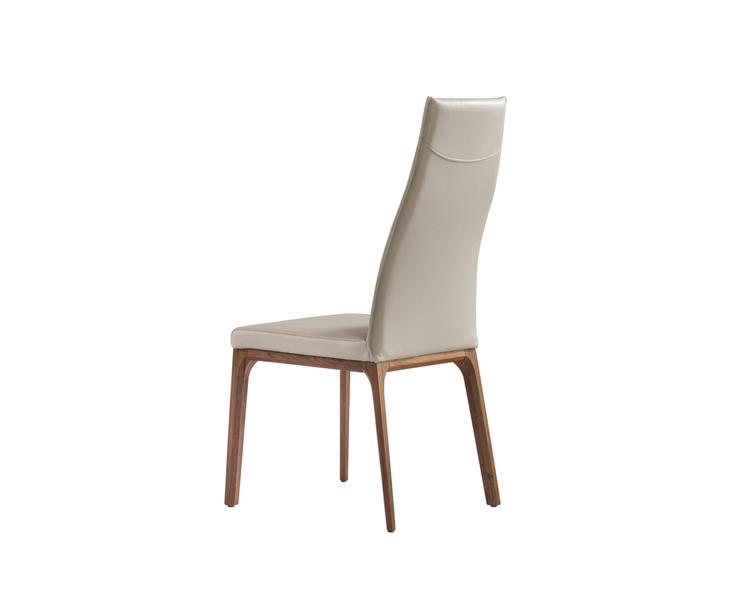 Ricky Dining Chair, Faux Leather, Solid Wood With Veneer Base Frame.