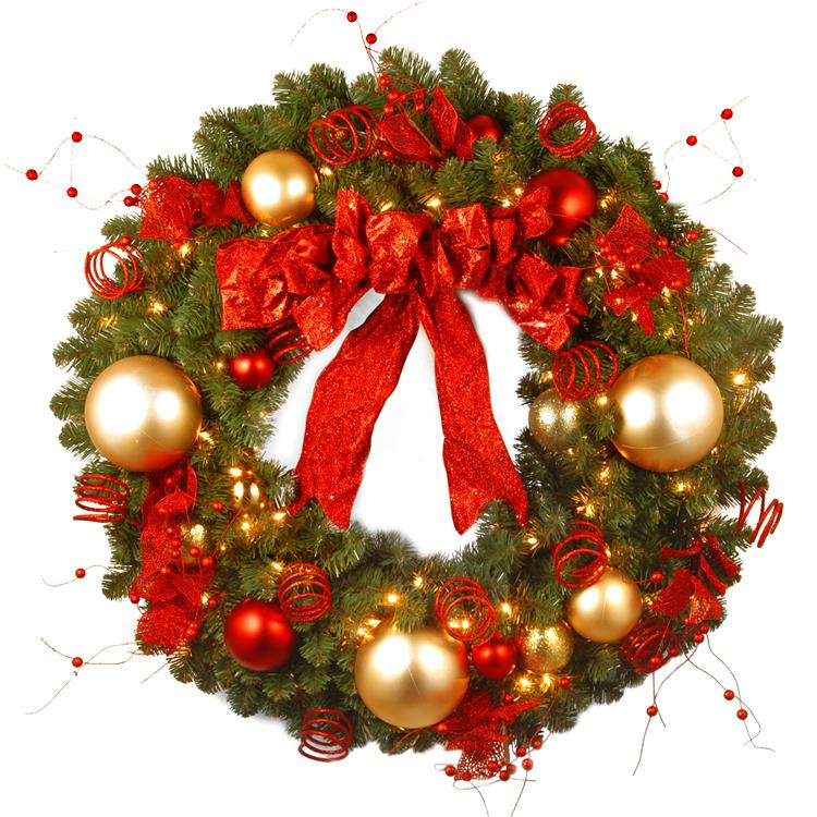 National Tree 36 inch  Decorative Collection Cozy Christmas Wreath with Red and Clear Lights
