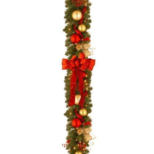 National Tree Decorative Collection Cozy Christmas Garland with Red and Clear Lights