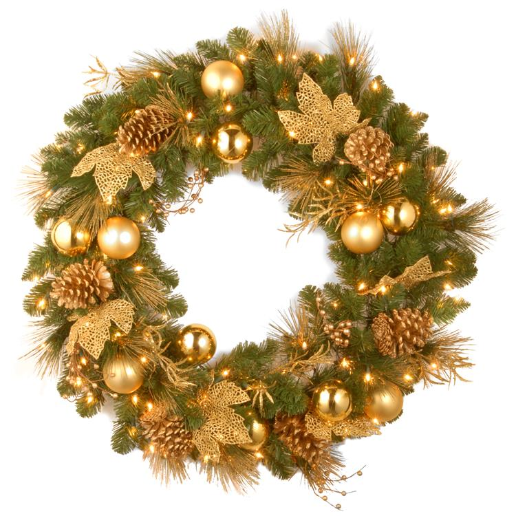 National Tree 24 inch  Decorative Collection Elegance Spruce Wreath with Battery Operated Warm White LED Lights