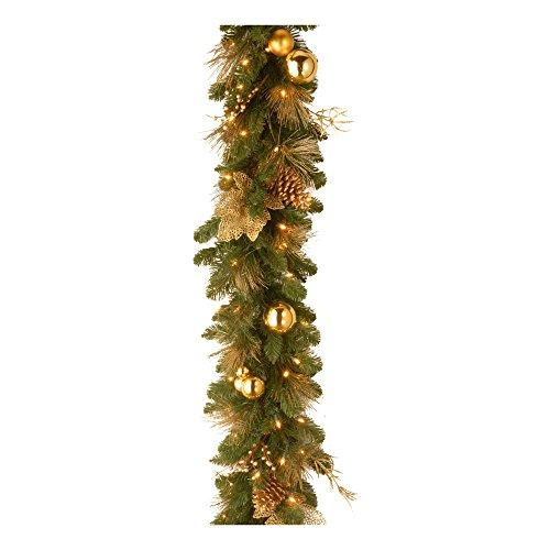 National Tree Decorative Collection Elegance Garland with Battery Operated Warm White LED Lights
