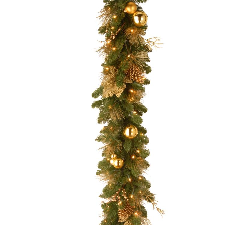 National Tree 6 ft  Decorative Collection Elegance Garland with Battery Operated Warm White LED Lights