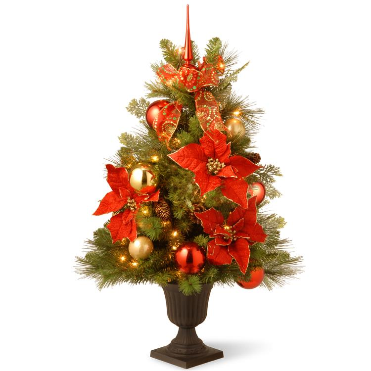 National Tree 3 ft Decorative Collection Home For the Holidays Entrance Tree with Clear Lights