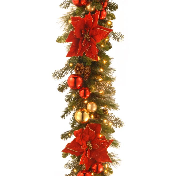 National Tree 9 ft Decorative Collection Home for the Holidays Garland with Clear Lights