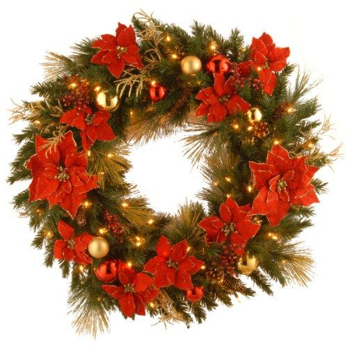National Tree Decorative Collection Home Spun Wreath with Clear Lights