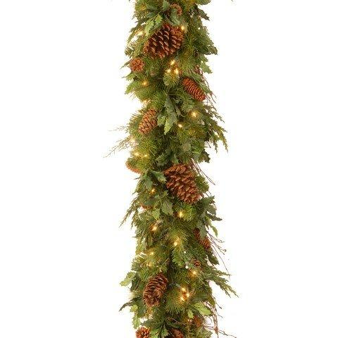 National Tree Decorative Collection Juniper Mix Pine Garland with Warm white LED Lights
