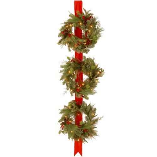 National Tree Decorative Collection Triple Wreath Door Hang with Clear Lights