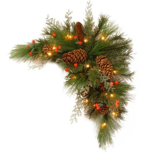 National Tree Decorative Collection White Pine Corner Swag with Battery Operated Warm White LED Lights