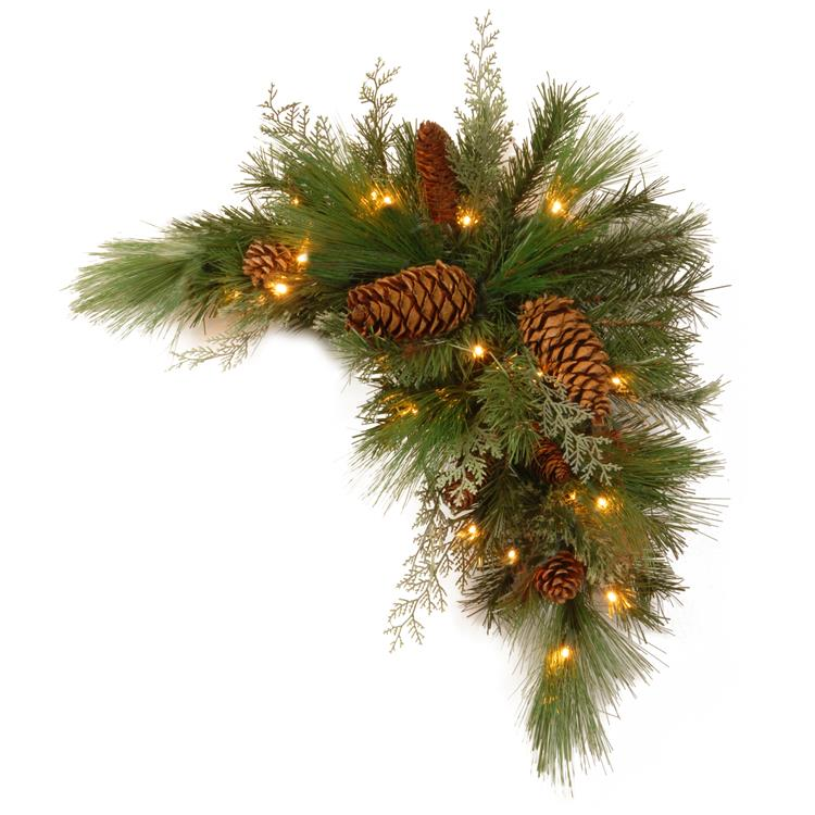 National Tree 30 inch  White Pine Corner Swag with Battery Operated LED Lights