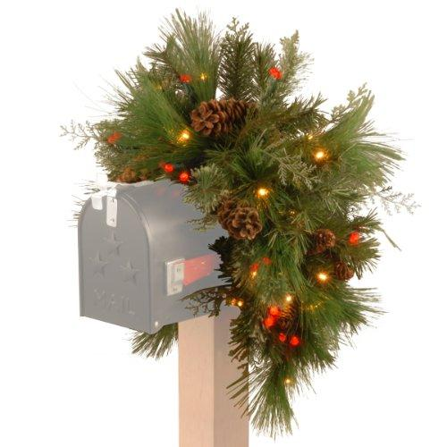 National Tree Decorative Collection White Pine Mailbox Swag with Battery Operated Warm White LED Lights