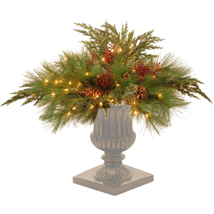 National Tree 30 inch   White Pine Urn Filler with Clear Lights