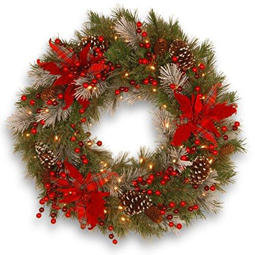 National Tree Decorative Collection Tartan Plaid Wreath with Battery Operated Warm White LED Lights