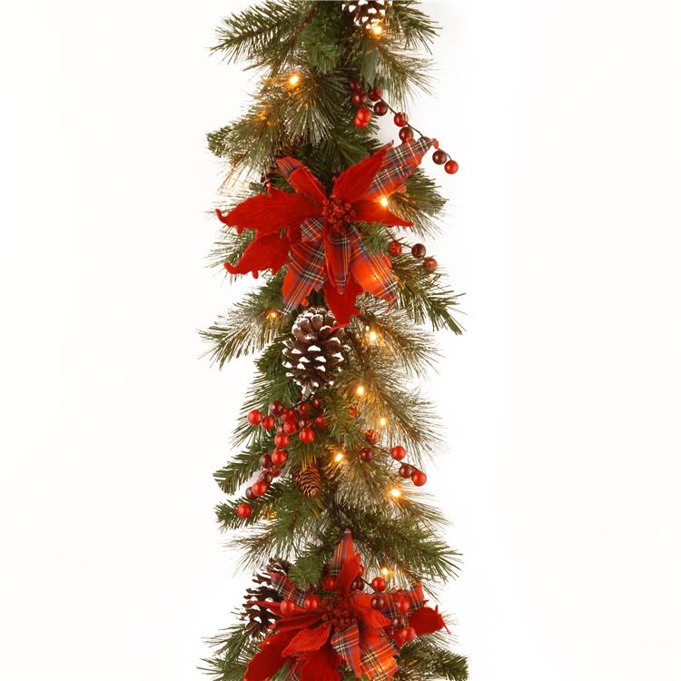 National Tree 9 ft  Tartan Plaid Garland with Battery Operated Warm White LED Lights