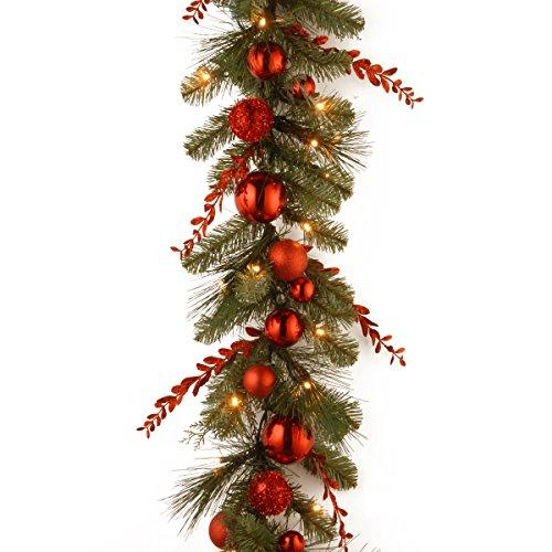 Decorative Collection Christmas Red Mixed Garland with Battery Operated Warm White LED Lights