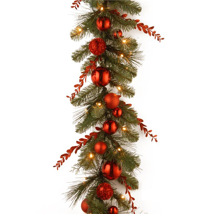 National Tree 9 ft  Red Mixed Garland with Battery Operated Warm White LED Lights [Item # DC13-159-9BB-1]