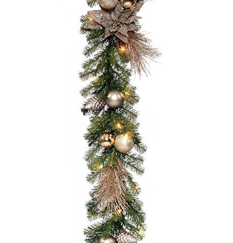 National Tree Decorative Collection Metallic Garland with Clear Lights