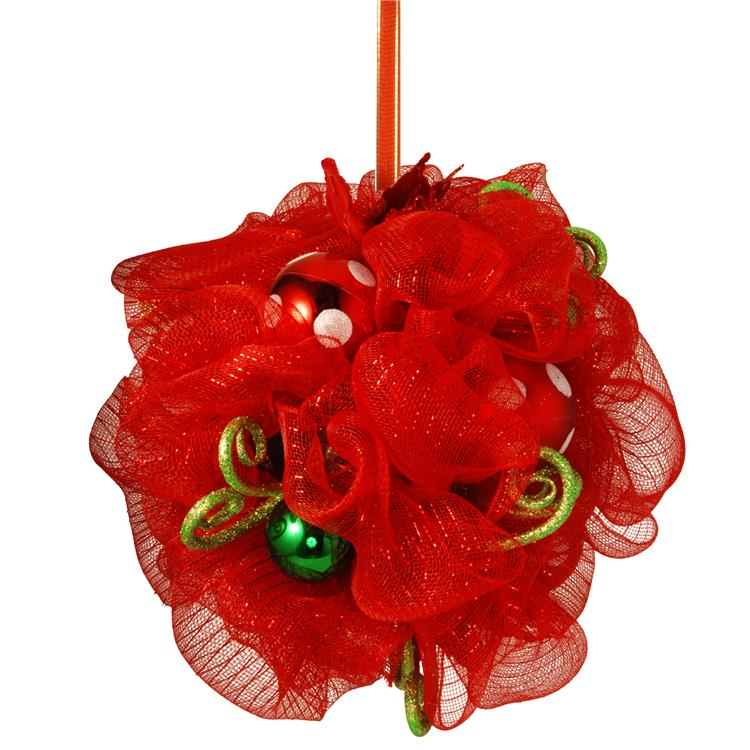 National Tree Decorative Collection Red Ribbon Kissing Ball