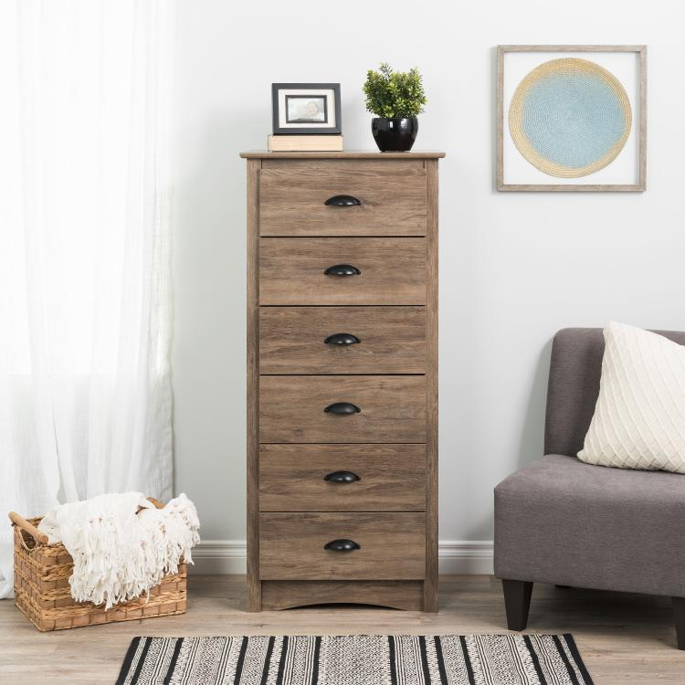Prepac Salt Spring Tall 6-Drawer Chest, Drifted Gray
