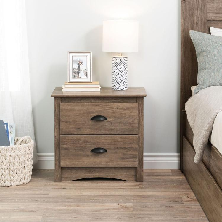 Prepac Salt Spring 2-Drawer Nightstand, Drifted Gray