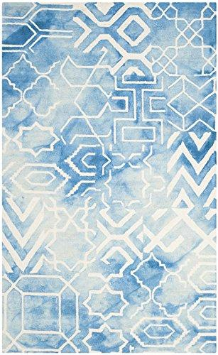 Contemporary Rug - Dip Dye 80% Wool, 20% Cotton -Blue/Ivory