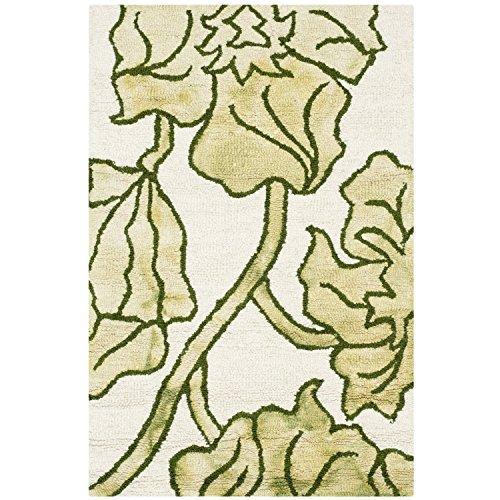 Contemporary Rug - Dip Dye 80% Wool, 20% Cotton -Ivory/Light Green
