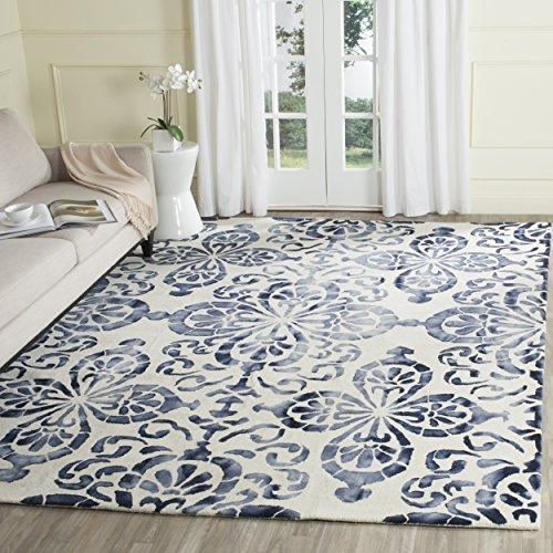 Contemporary Rug - Dip Dye Wool Pile -Ivory/Navy