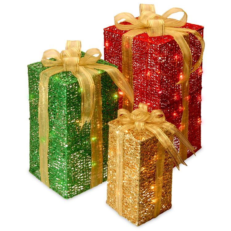 National Tree Pre-Lit Sisal Gift Box Assortment,Set of 3