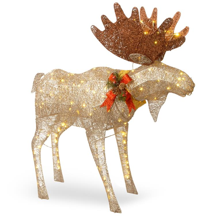 National Tree 48  inch Moose Decoration with White LED Lights