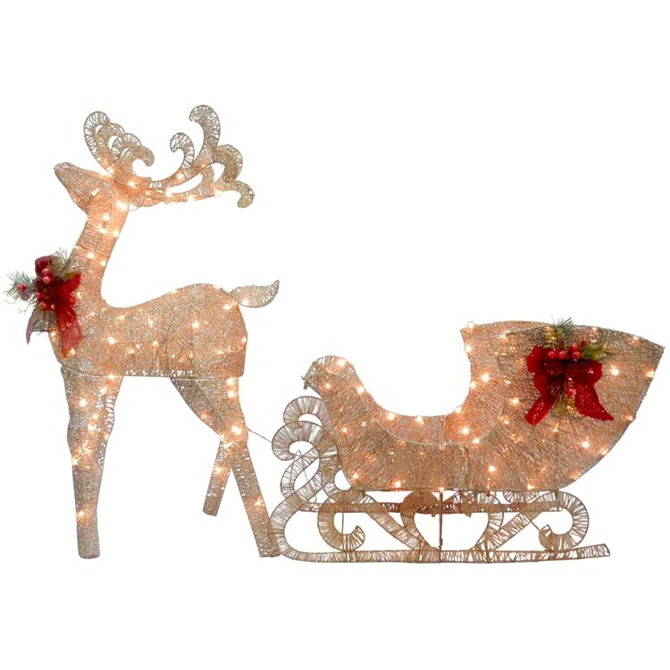 National Tree Reindeer and Santa?s Sleigh with LED Lights