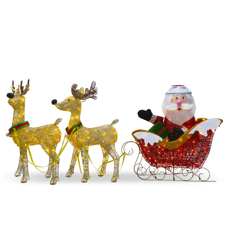 National Tree 34 inch Santa and Reindeer with Clear Lights
