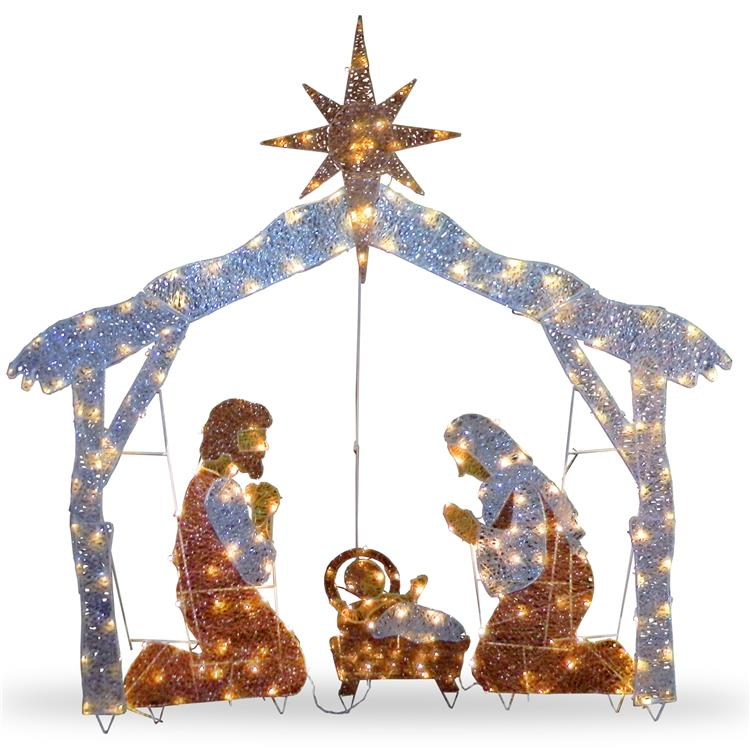 National Tree 72 inch Nativity Scene with White LED Lights