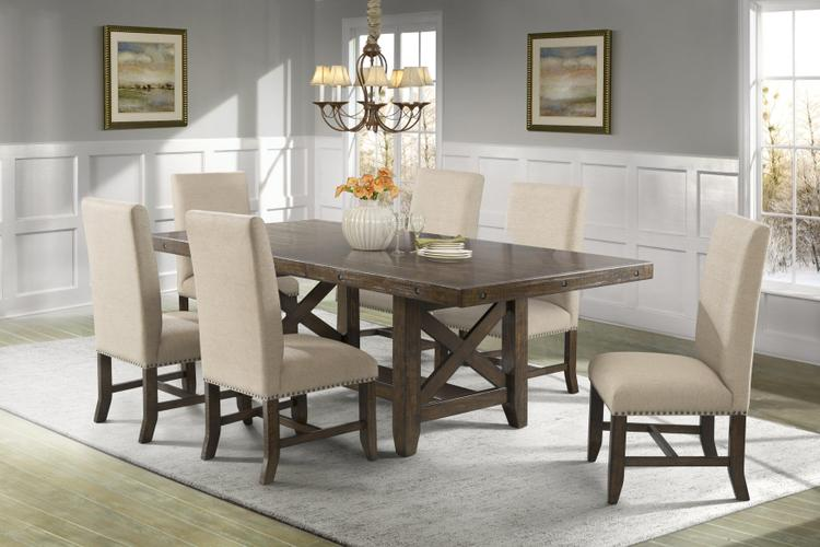 Picket House Furnishings Francis Dining Set-Table & 6 Fabric Side Chairs
