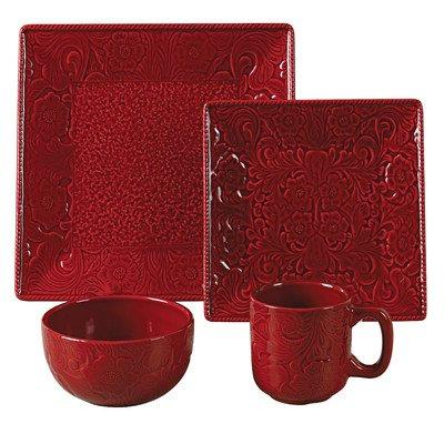 16 PC Savanah Dishes Set,   Red