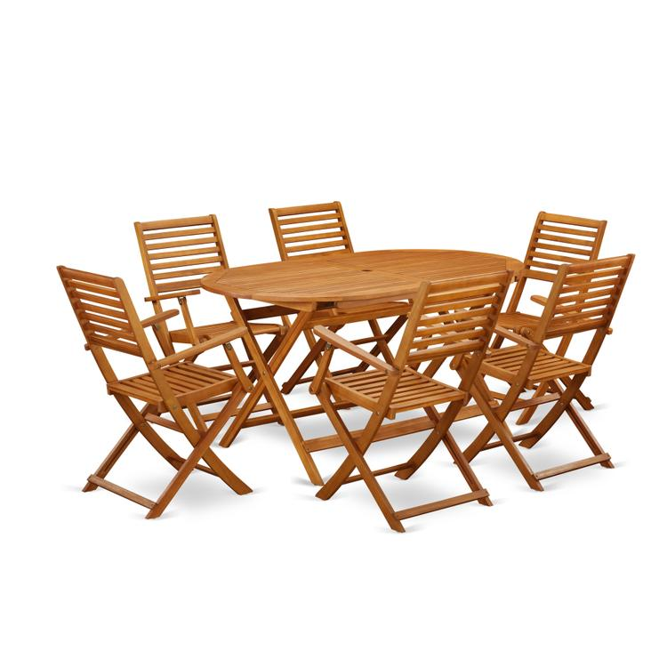 East West Furniture DIBS7CANA This 7 Pc Acacia Wood Outdoor Dining Sets includes an outdoor table and 6 patio dining chairs [Item # DIBS7CANA]
