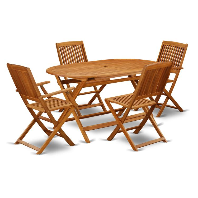 East West Furniture DICM52CANA This 5 Piece Acacia Hardwood Outdoor patio Sets provides you one particular outdoor table and four patio dining chairs