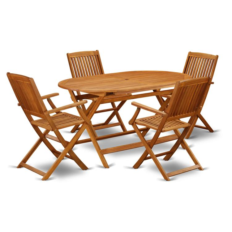 East West Furniture DICM5CANA This 5 Piece Acacia Wooden Patio area Dining Sets offers an outdoor table and four foldable outdoor chairs