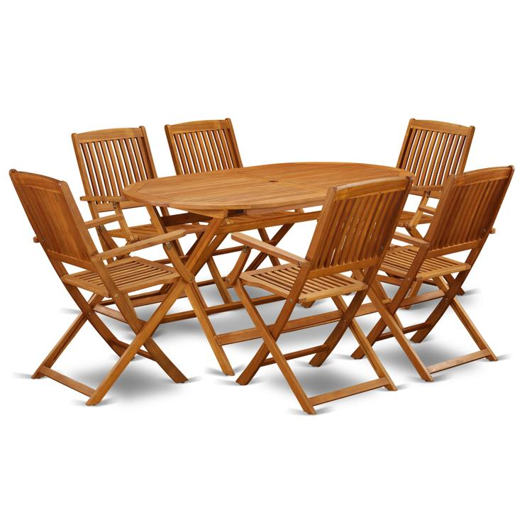 East West Furniture DICM7CANA This 7 Pc Acacia Courtyard Sets includes one outdoor table and Six patio dining chairs [Item # DICM7CANA]