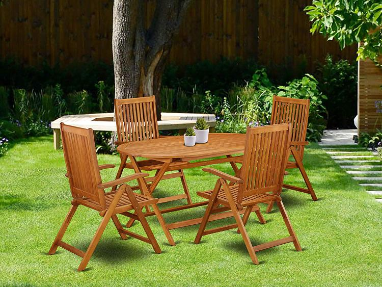 East West Furniture DICN5NC5N This 5 Piece Acacia Patio Dining Sets includes an outdoor table and 4 foldable outdoor chairs