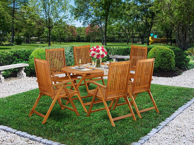 East West Furniture DICN7NC5N This 7 Pc Acacia Wood Balcony Sets offers a single outdoor table and Six foldable outdoor chairs