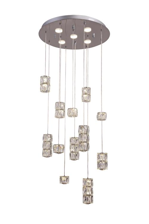 Bethel a Chrome Frame Flushed LED Chandelier with Clear Crystal Hanging Pendants